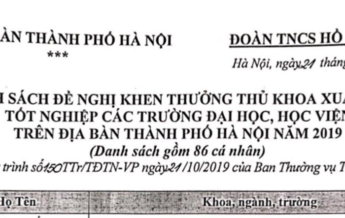 Danh sách Thủ khoa xuất sắc thành phố Hà Nội năm 2019